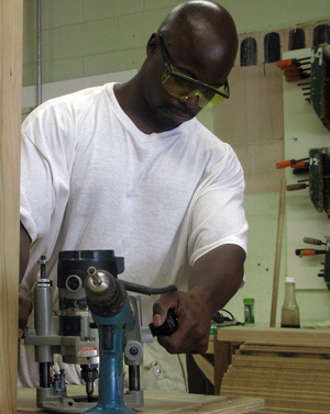 Derrick Poole is enrolled in Folsom's mill and cabinetry program.