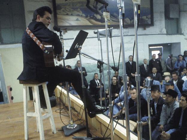Johnny Cash performs for inmates at Folsom State Prison in January 1968.