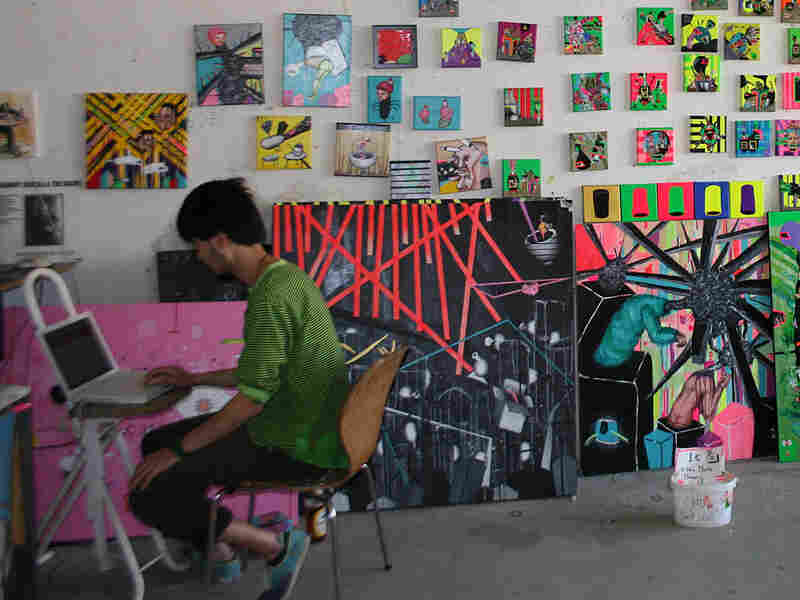 Kuri Haran works in his studio at Tacheles artist community.
