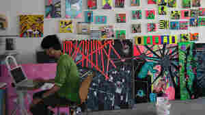 Wide: Kuri Haran works in his studio at Tacheles art collective in Berlin.