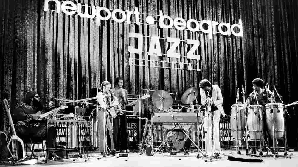 Miles Davis and the Yamaha group at the Newport-Belgrade Jazz Festival. Belgrade, Yugoslavia, 1973.'