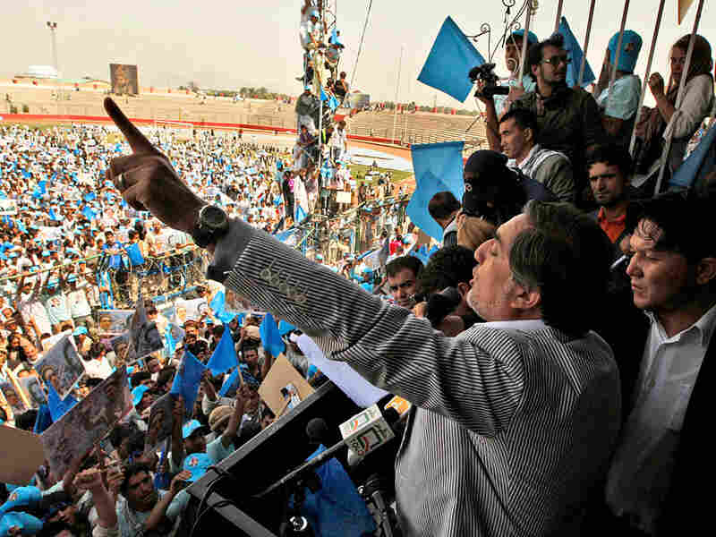 Presidential candidate Abdullah Abdullah addresses a rally