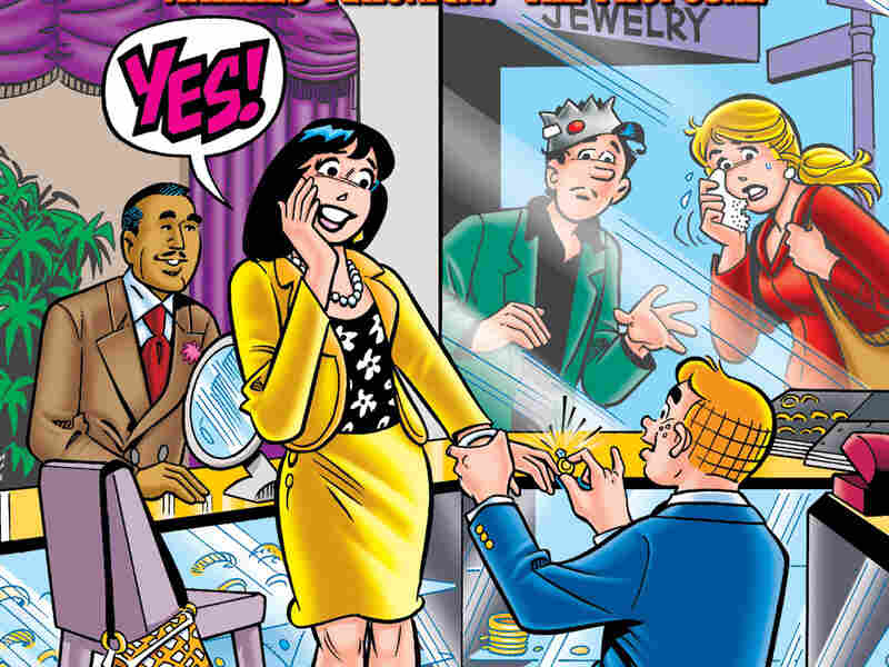 4:3 Archie pictured proposing to Veronica on cover of issue no. 600 of Archie Comics.