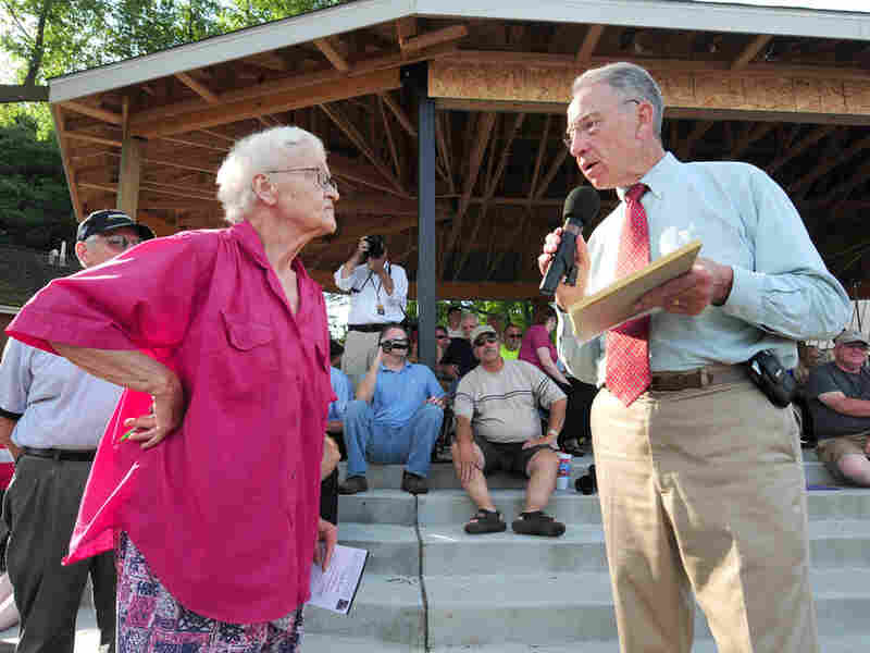 Sen. Grassley responds to a question at a town meeting in Adel, Iowa.