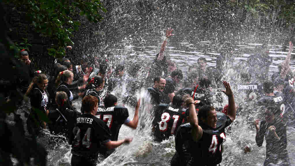 At Rye High School in New York, the end-of-game ritual is to jump into a brook.