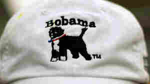 Wide John Farrington shows off a hat he designed featuring U.S. President Barack Obama's dog, Bo.