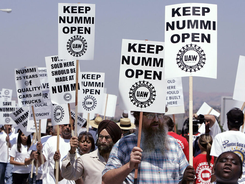NUMMI workers demonstrate Thursday at the plant in Fremont, Calif. There are fears automaker Toyota may give up on California's last auto plant.