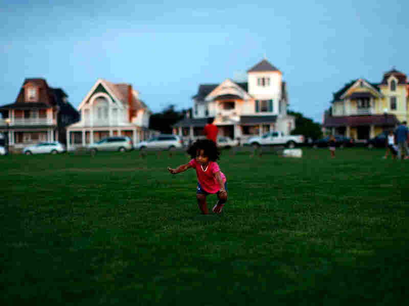 A child plays in Oak Bluffs, Mass., on Martha's Vineyard.