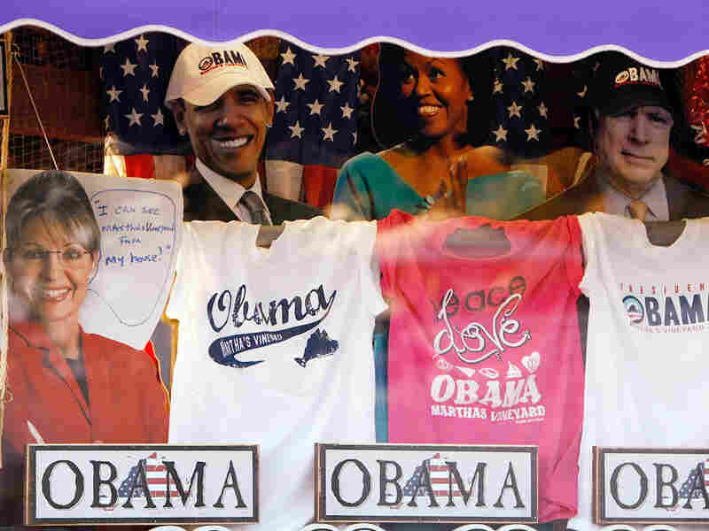 Items featuring President Barack Obama, Michelle Obama, Sarah Palin, and John McCain