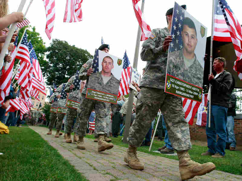 Family members and supporters welcome home the soldiers from Afghanistan.