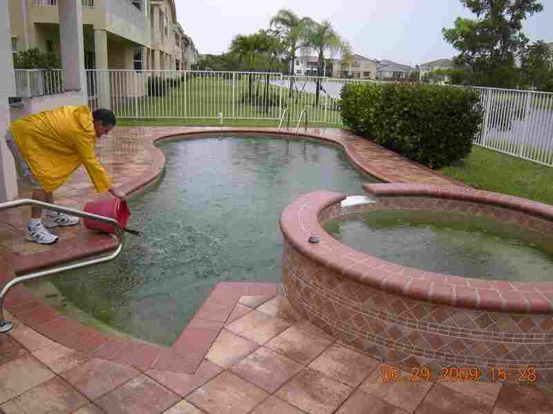 Treating a foreclosed pool. Courtesy village of Wellington
