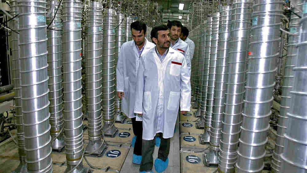 Wide: Iranian President Mahmoud Ahmadinejad visits the Natanz uranium-enrichment facilities