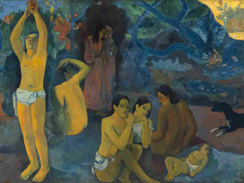 """Paul Gauguin's Tahitian masterpiece, """"Where did we come from? Who are we?  Where are we going?"""" has"""