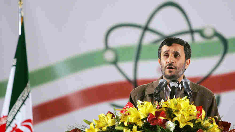 Wide: Iranian President Mahmoud Ahmadinejad delivers a speech at Natanz in 2007.