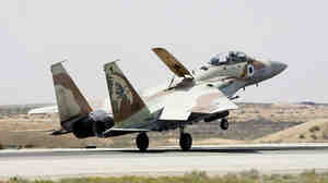 WIDE: Israeli Air Force F-15I fighter jet lands at the Hazerim Air Force in March 2009