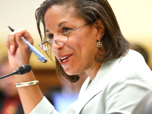 Susan Rice, U.S. ambassador to the United Nations, testifies about new challenges the U.S. is facing in international peacekeeping operations during a hearing before the House Foreign Affairs Committee.