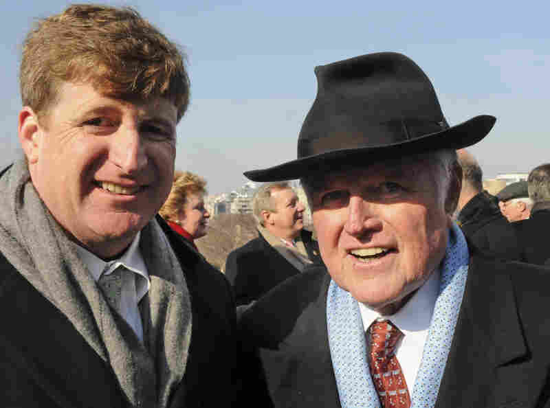 Sen. Edward Kennedy (D-MA) (right) stands with his son, Rep. Patrick Kennedy (D-RI)
