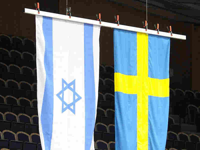 The Israeli and Swedish flags
