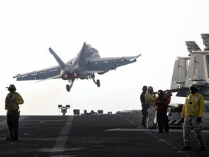 Hornet takes off from the USS Stennis in the Persian Gulf in 2007