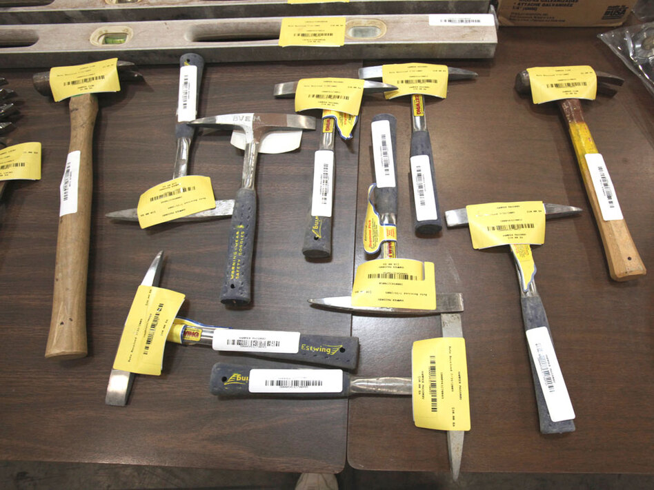 Tools are displayed Tuesday that will be sold during the Great California Garage Sale in Sacramento, Calif.
