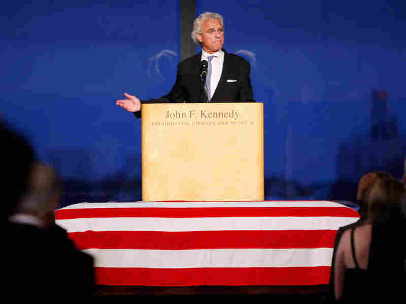 Joseph P. Kennedy, son of Robert Kennedy, addresses mourners at his uncle Edward's memorial service.