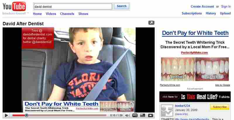 Screen grab of David After Dentist on YouTube.
