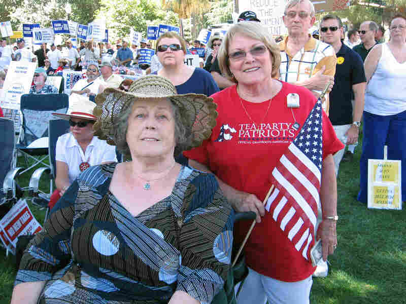 Jean Sadler and Karen Griggs attend the Tea Party Express rally in Sacramento