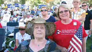 Jean Sadler and Karen Griggs (w) attend the Tea Party Express rally in Sacramento