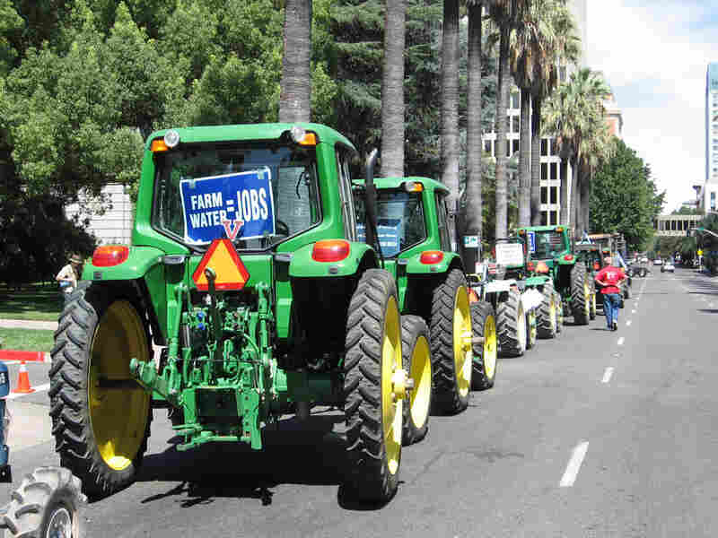 As the Sacramento rally was starting, a line of John Deere tractors paraded through downtown
