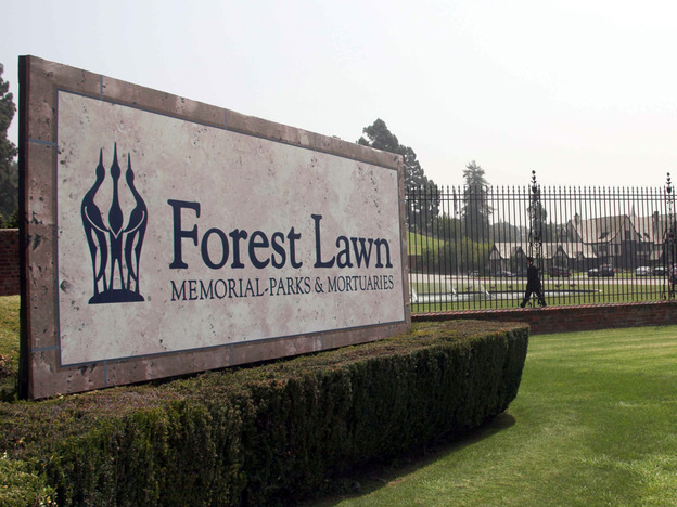 The entrance to Forest Lawn cemetery in Glendale, Calif.