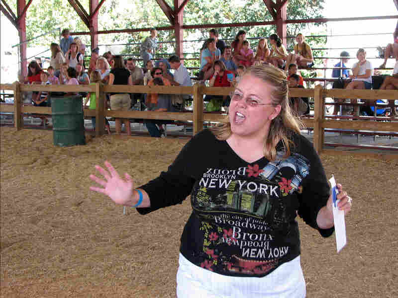 Donna Kuklis of Saugerties, N.Y., won this year's Dutchess County Fair husband calling contest.