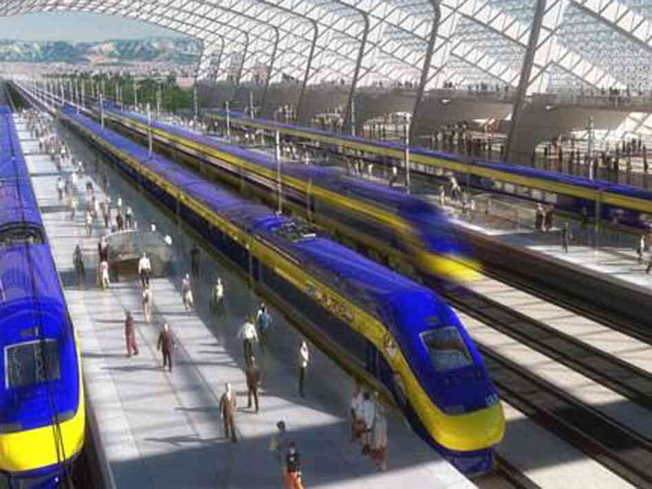 Rendering of a station in the proposed California Corridor
