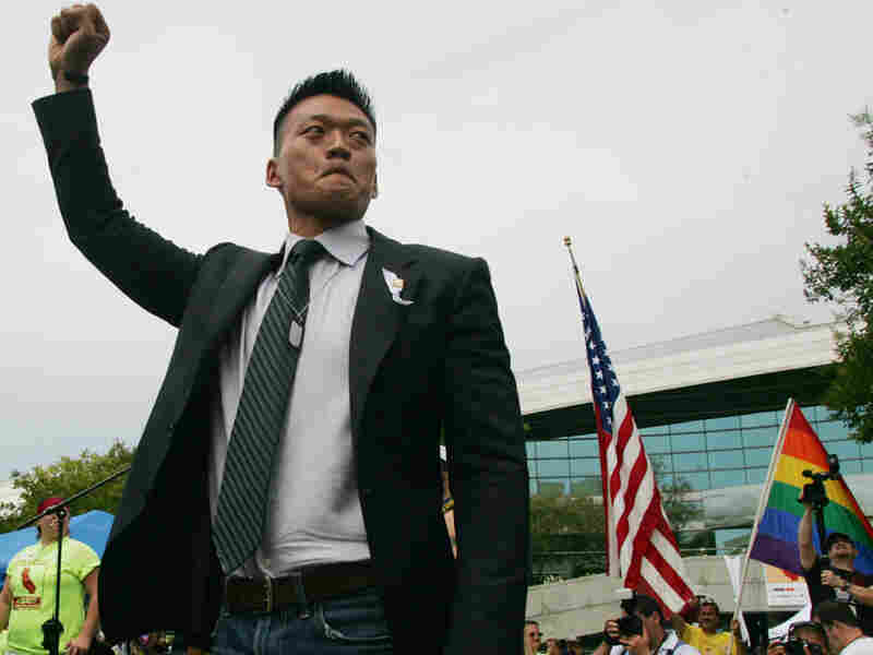 Lt. Dan Choi, an Iraq combat veteran who was discharged under the Don't Ask, Don't Tell policy
