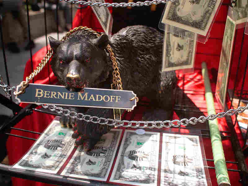 An artist's street display sits outside the courthouse where Bernard Madoff was sentenced.