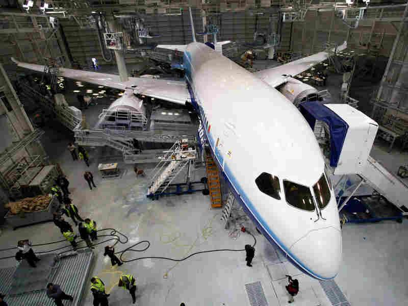 A Boeing 787 in a hanger in Everett, Wash.