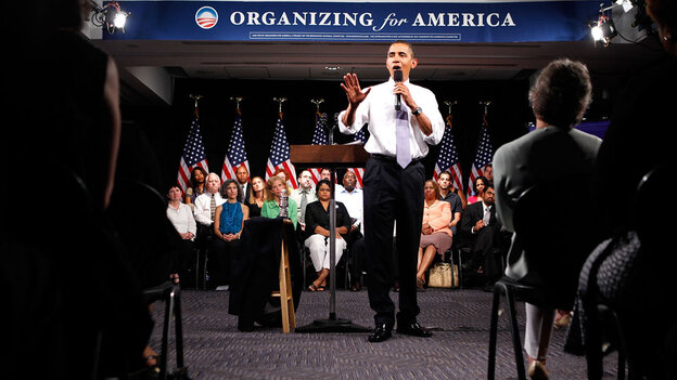 Obama speaks during a town hall meeting on healthcare in Washington, D.C.