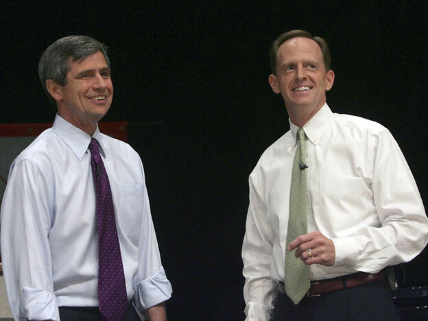 Democratic Pennsylvania Rep. Joe Sestak (left) and Republican Pat Toomey held a joint town hall meeting in Allentown, Pa., last year. Each wants to unseat Specter.