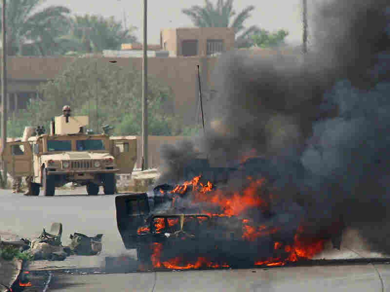 A roadside bomb exploded a Humvee.