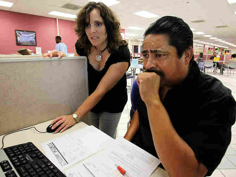 Sergio Fuentes, who is unemployed, gets some help with his job search