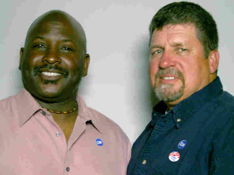 Ironworkers Kerry Davis (left) and Ken Hopper