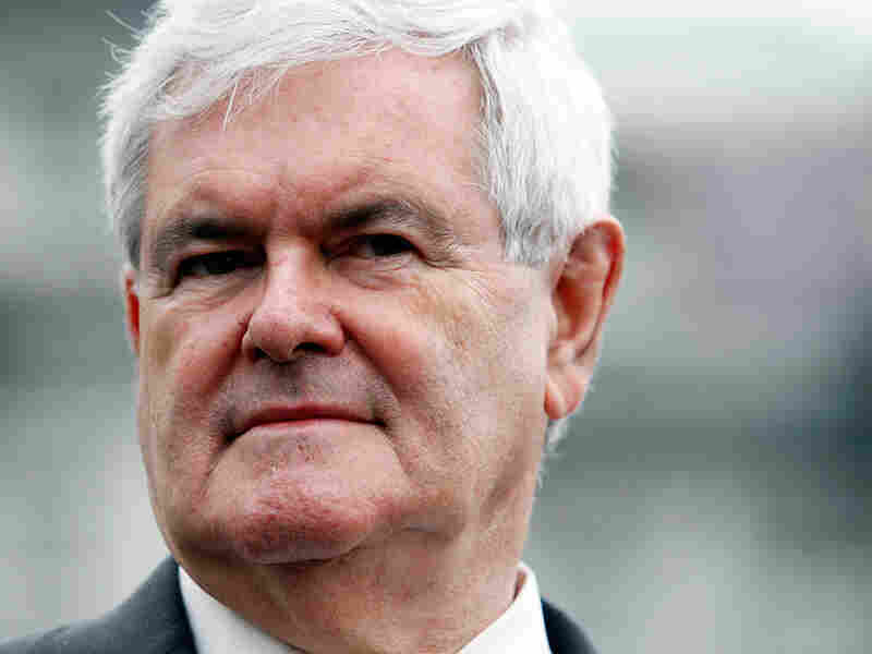 Former House Speaker Newt Gingrich looks on before speaking with reporters outside the White House.