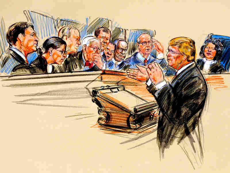 Artist rendering of the Supreme Court hearing.