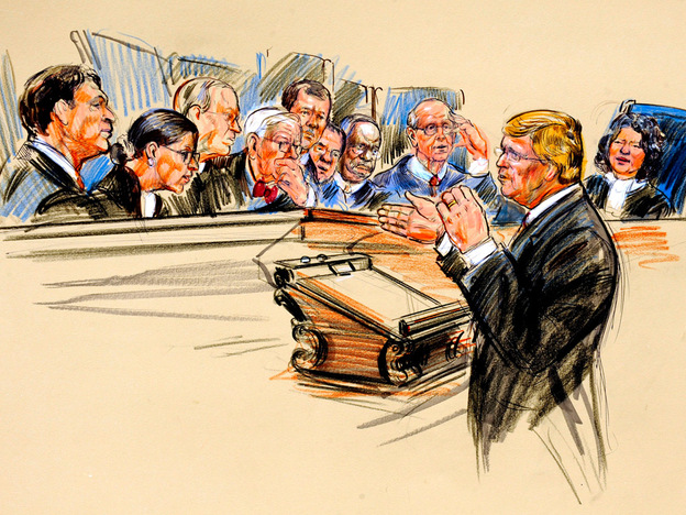 This artist rendering shows Ted Olson, the attorney representing the group behind a movie critique of Hillary Clinton, arguing a campaign finance case before the Supreme Court in Washington on Wednesday. The court's newest member, Justice Sonia Sotomayor, is depicted on the far right.