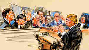 Artist rendering of Supreme Court hearing.