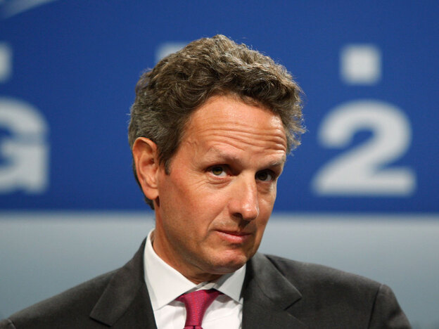 Treasury Secretary Timothy Geithner at a news conference Saturday after the G-20 finance minister's summit in London.