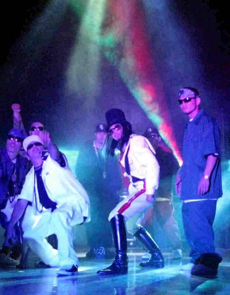Mongolian hip-hop artists Damdinbazar Manlai, Amraa and Kobe (left to right)