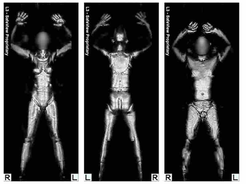 Images are shown from the millimeter wave whole body imager scanning machine.