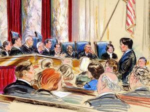 An artist rendering showing Supreme Court arguments