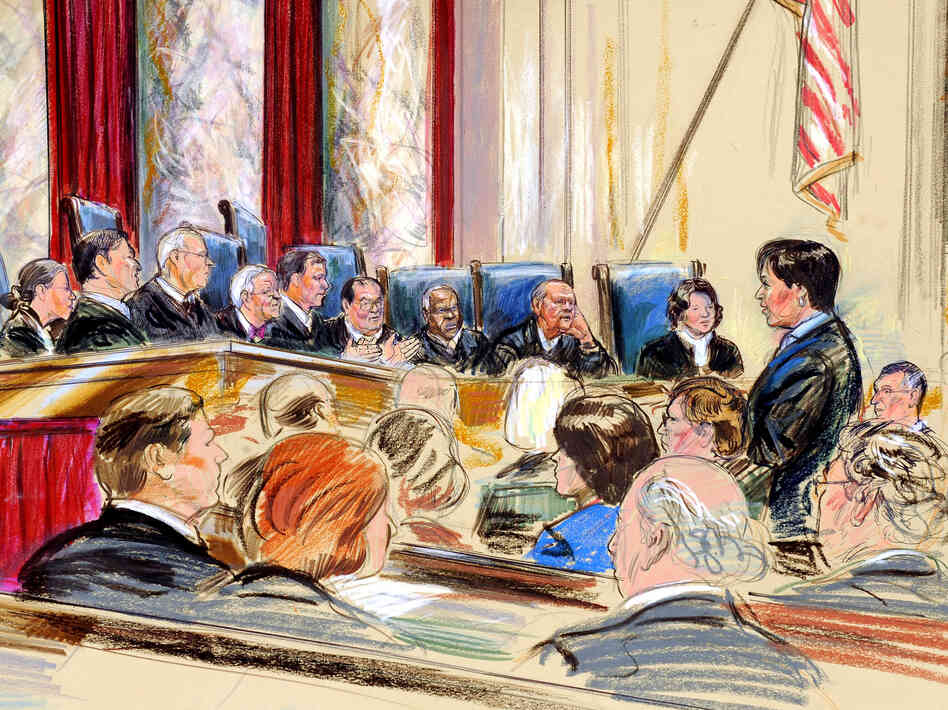 An artist rendering showing Supreme Court arguments