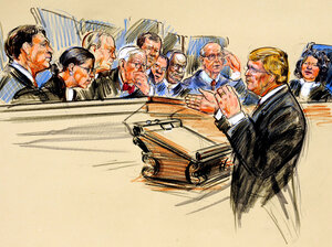 An artist rendering of Theodore Olson, the attorney representing Citizens United, arguing a case